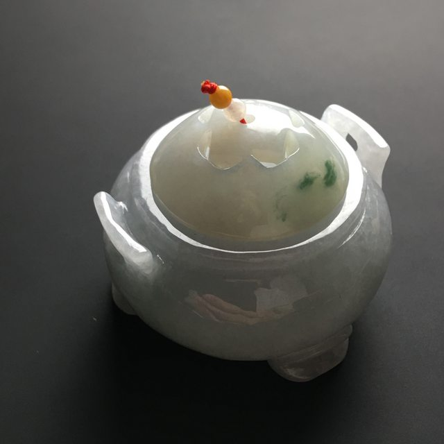 55-43寸糯冰飘花翡翠香炉摆件