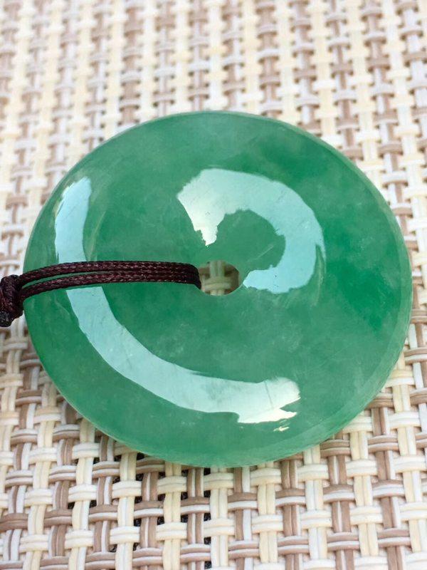 冰种满绿翡翠平安扣吊坠 冰透完美