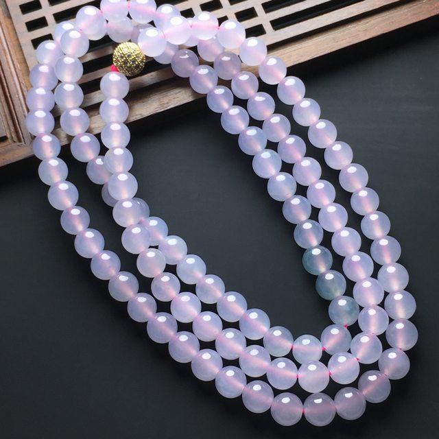 冰粉紫色佛珠翡翠项链 108颗
