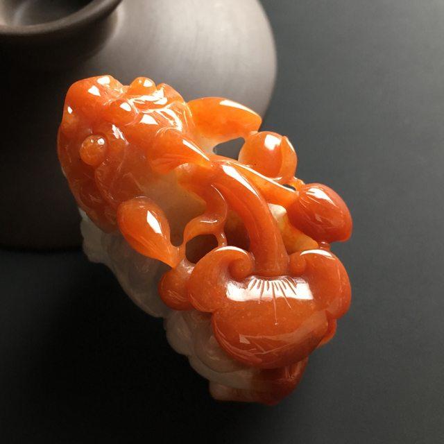 红翡招财貔貅 翡翠吊坠 尺寸43-24-28毫米