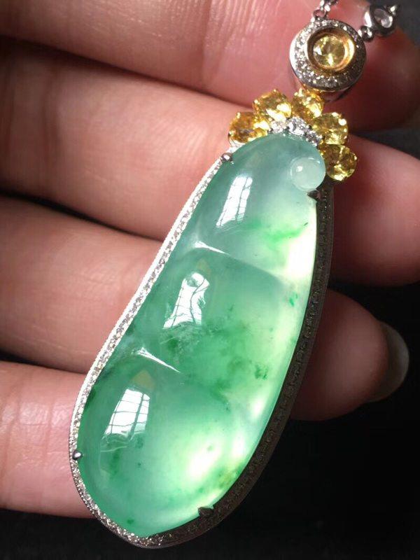 玻璃种阳绿 翡翠挂件 裸石36.5:15:6mm