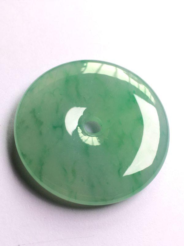 阳绿平安扣 翡翠挂件 整体尺寸:35*35*6