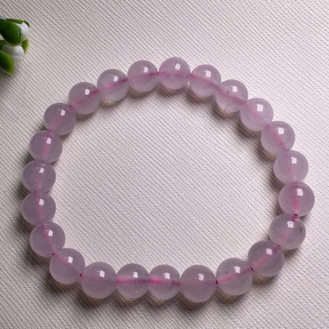 冰种粉紫罗兰 饱满起光翡翠手链