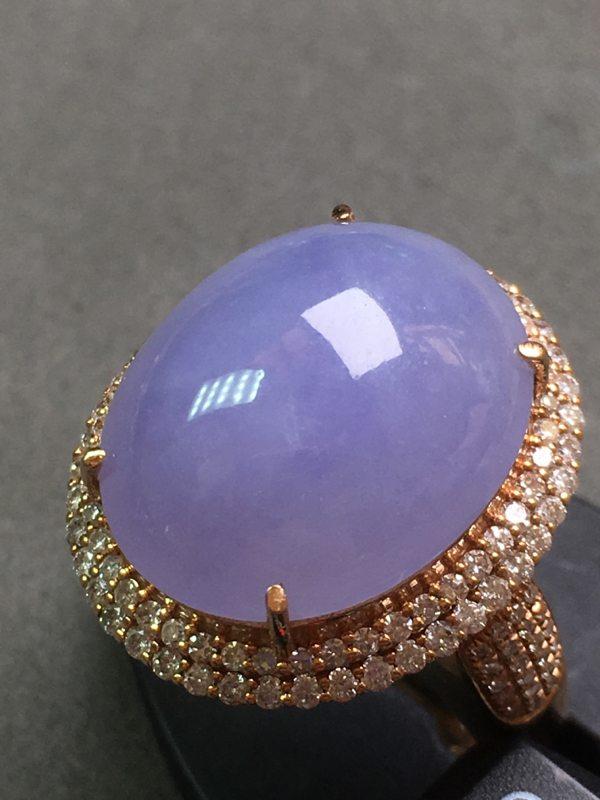 冰种紫罗兰 缅甸天然翡翠戒指 种水一流