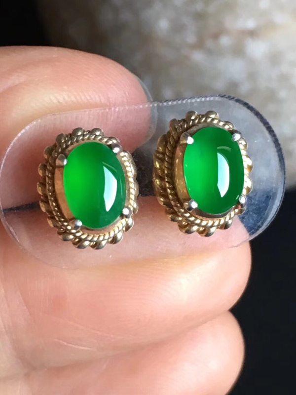 老坑冰种 艳阳绿色7.6-5.6-3.3mm