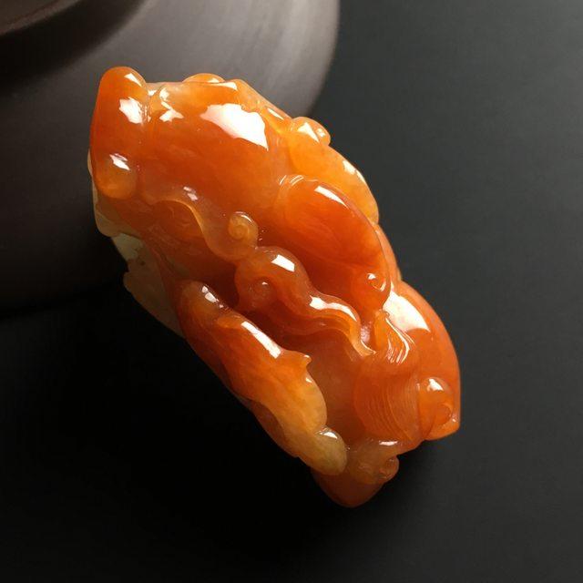 红翡招财貔貅 翡翠吊坠 尺寸46-24-25毫米