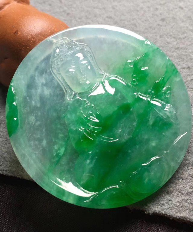 冰种阳绿翡翠吊坠 尺寸50*5.5