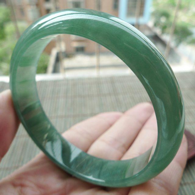 冰润满绿A货翡翠正装手镯57.4mm