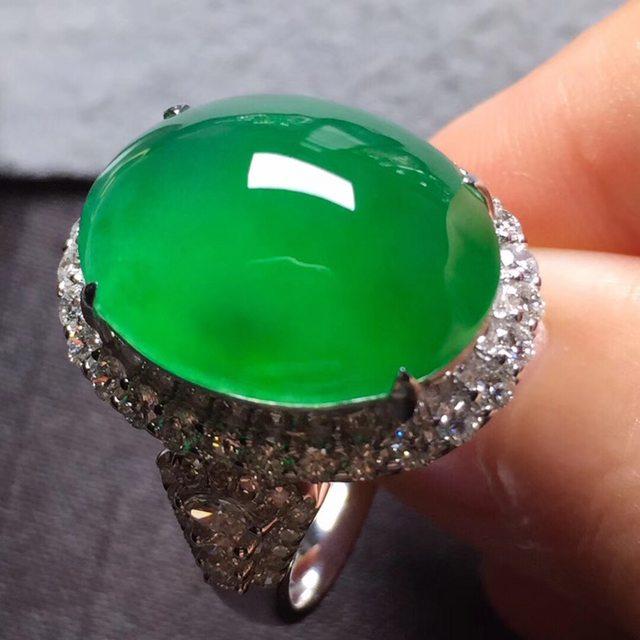 17*13.6*6寸高冰阳绿 缅甸天然翡翠戒指