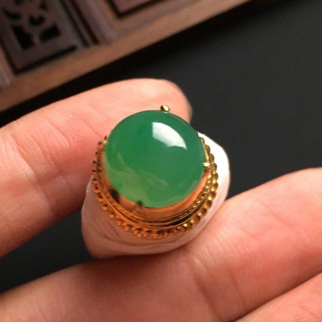 12-12-6.5寸冰种晴绿 缅甸天然翡翠戒指