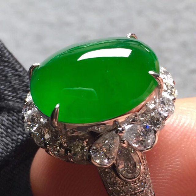 12.8*10.8*6寸高冰帝王绿 缅甸天然翡翠戒指
