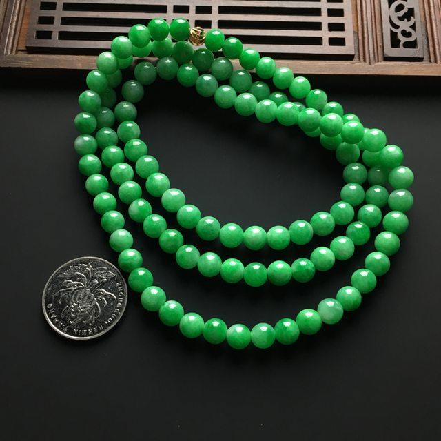 冰润阳绿天然翡翠项链 直径7毫米图5