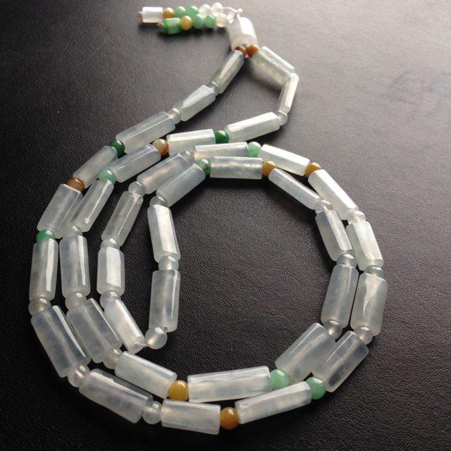 糯冰种路路通天然翡翠项链 38颗 单颗尺寸17-6-5毫米图2
