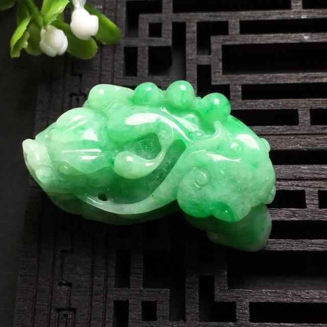 阳绿貔貅 翡翠吊坠 尺寸39.0*21.2*14.6mm