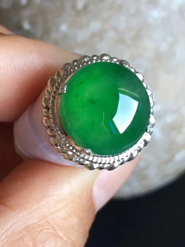 老坑冰种辣阳绿色 翡翠戒指13.2-12.6-5mm