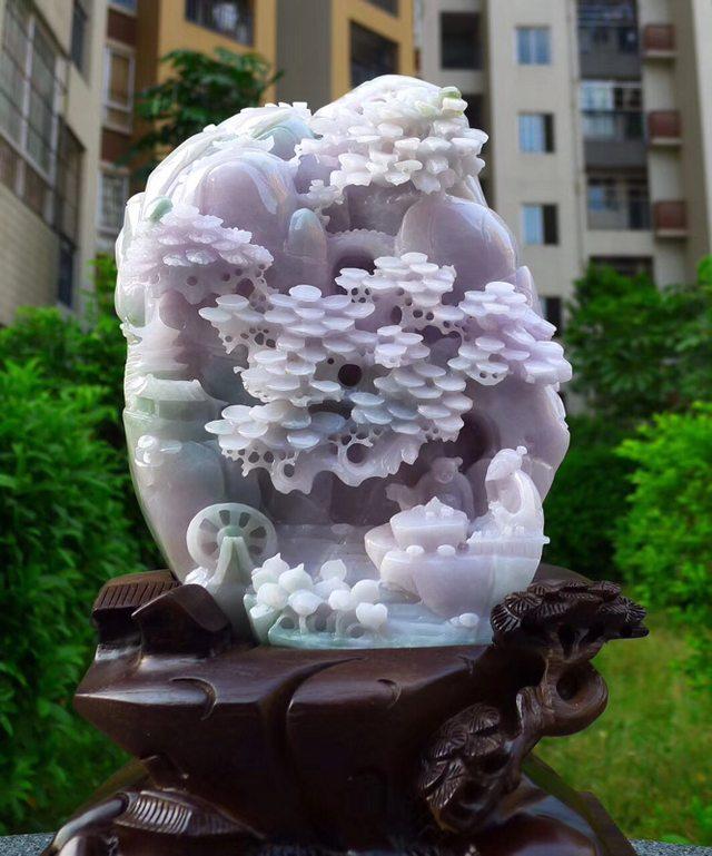 230.180.80寸冰糯浅紫色 高山流水翡翠摆件图3