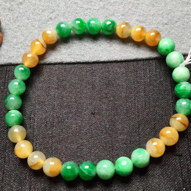 黄加绿天然翡翠手串6图8