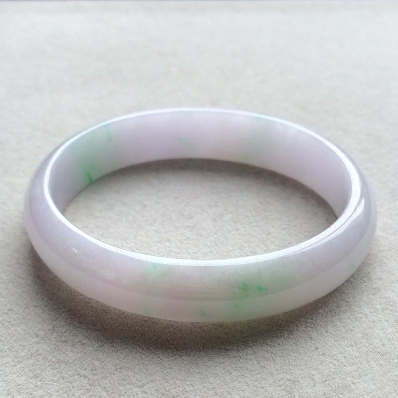 冰糯种春带彩天然翡翠贵妃手镯(57.5mm)
