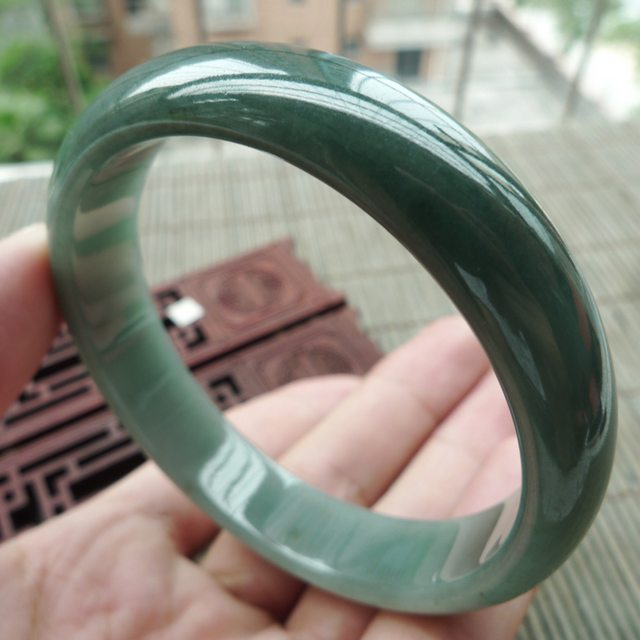 满色满绿翡翠手镯 缅甸天然翡翠正装手镯58.3mm