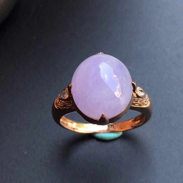 冰种紫罗兰 缅甸天然翡翠戒指 大小13.8*12.5*10mm