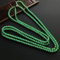 糯冰种阳绿 天然翡翠佛珠项链 单颗佛珠直径5.5毫米
