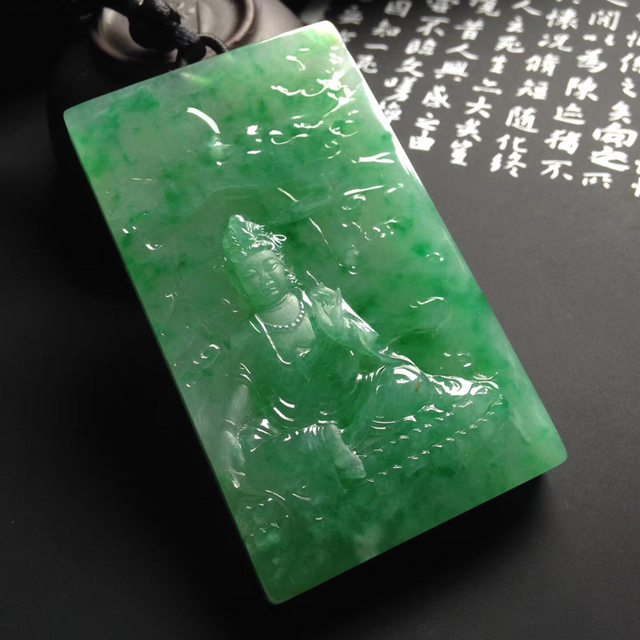 冰种满绿渡母翡翠吊坠  尺寸71-42-12毫米