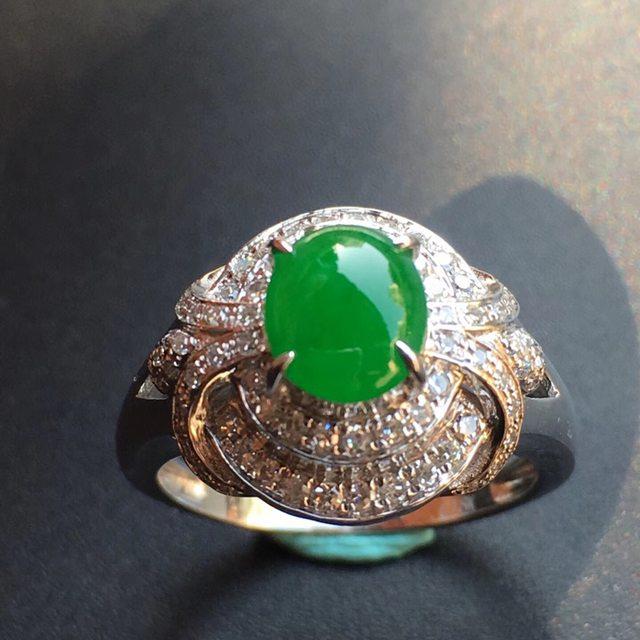 冰种阳绿 缅甸天然翡翠戒指大小7*6.1*3mm