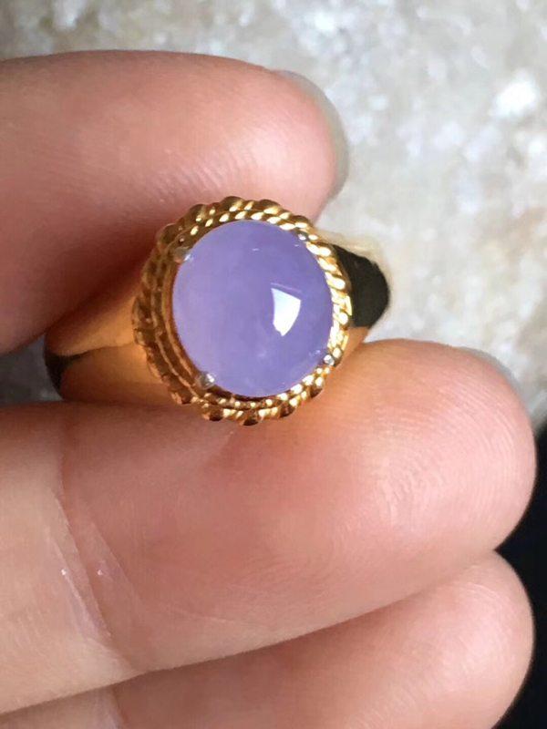 8.6-7.7-4mm老坑冰种 紫罗兰 缅甸天然翡翠戒指