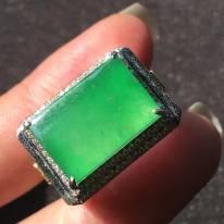 15.510.53.5寸高冰種正陽綠甜陽綠 翡翠戒指