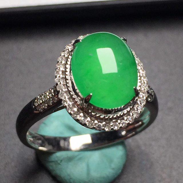 冰阳绿 缅甸天然翡翠戒指 真金真钻镶嵌