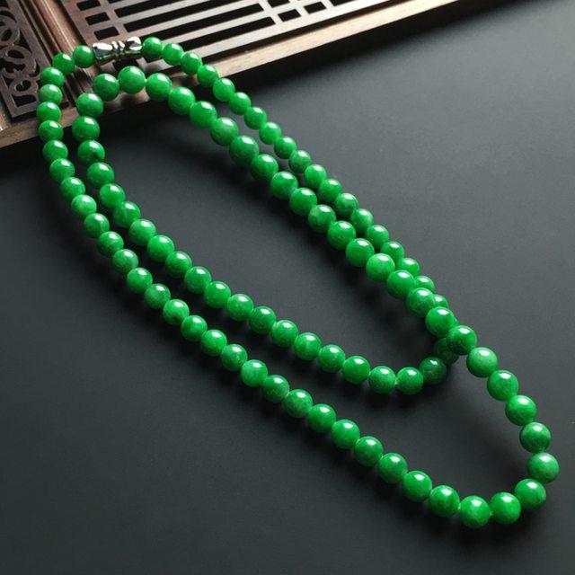 糯冰满色阳绿佛珠项链 共95颗
