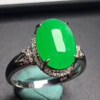 冰阳绿蛋面 缅甸天然翡翠戒指 真金真钻镶嵌