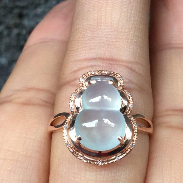 冰种晴水 缅甸天然翡翠18k金镶戒指