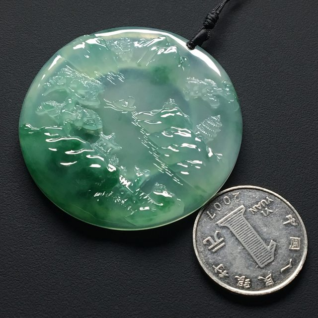 冰种飘绿花 大好河山翡翠吊坠 尺寸:51.7-6.7毫米图6