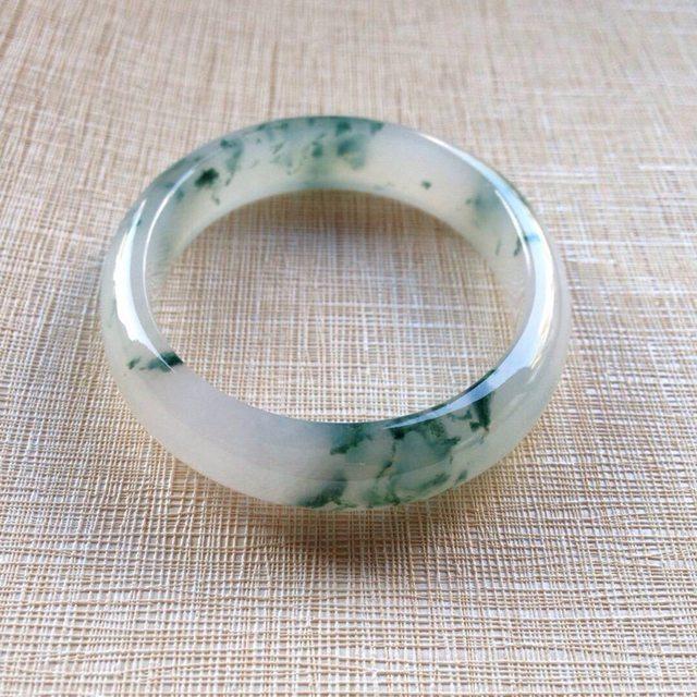 冰润飘蓝花翡翠贵妃镯:56-49-12-7mm图1