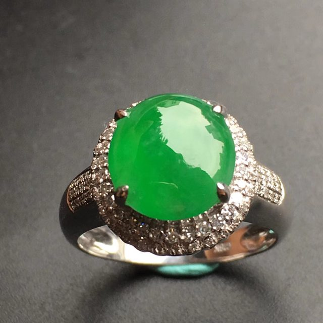 9.9*9.5*4mm冰种阳绿 缅甸天然翡翠戒指