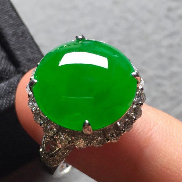 高冰阳绿 缅甸天然翡翠戒指