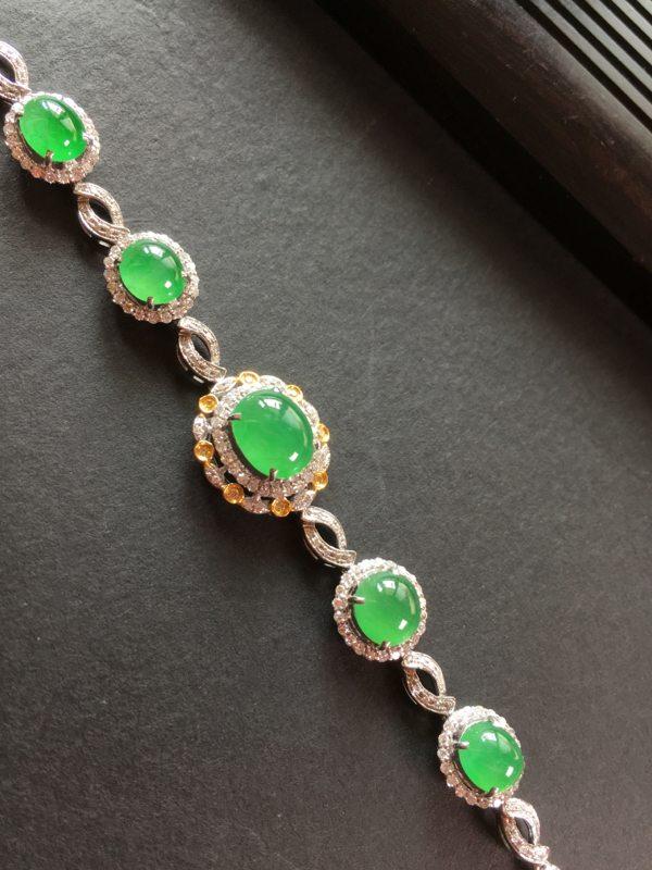 冰透水润满绿翡翠手链