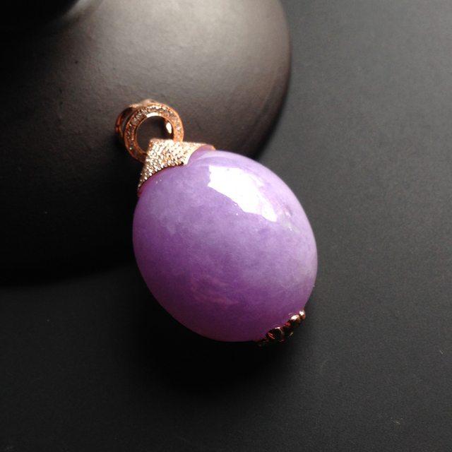 糯冰种紫罗兰 精美翡翠吊坠 尺寸21-20-10毫米 连金尺寸29-20-13毫米