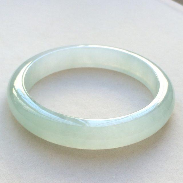 冰润晴底翡翠手镯  缅甸天然翡翠正圈镯  尺寸:55.5寸