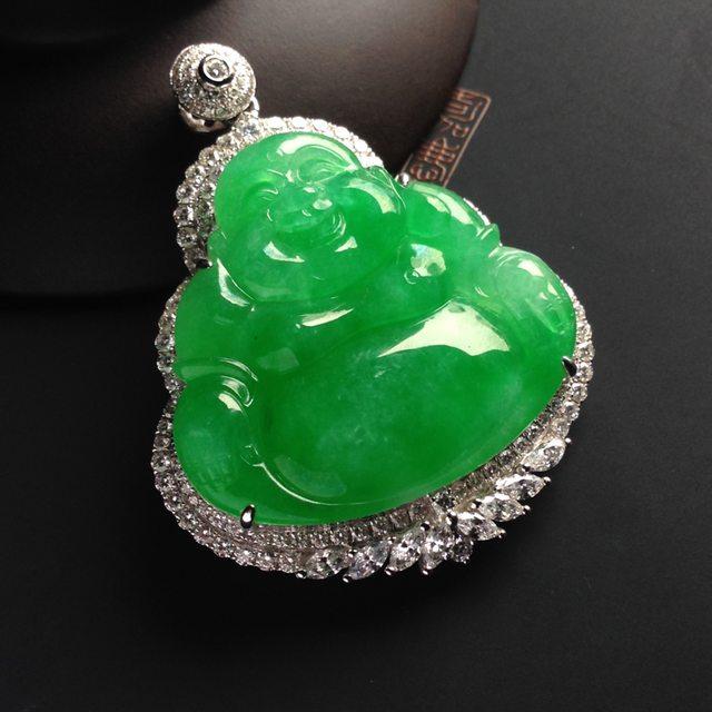 冰种满绿翡翠吊坠挂件
