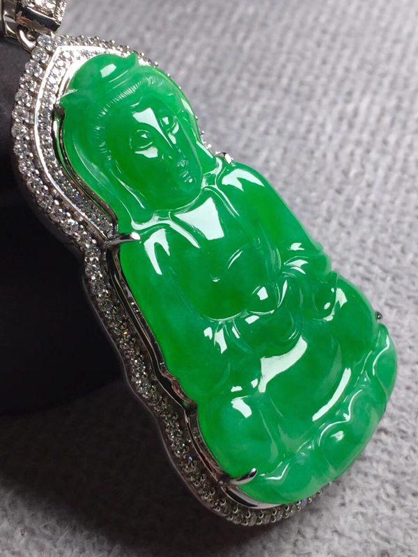 冰阳绿观音 翡翠挂件 裸石尺寸53*30.5*5