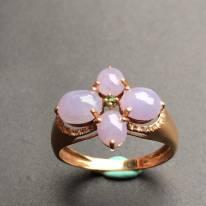 冰种紫罗兰花形 缅甸天然翡翠戒指
