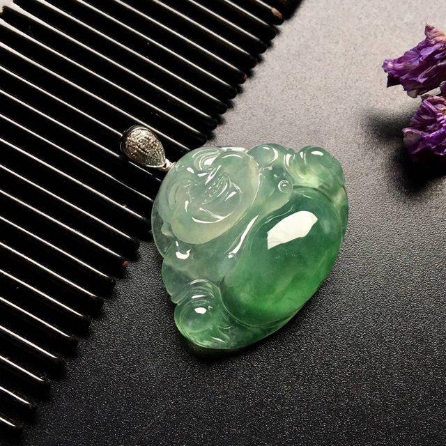 冰种飘绿翡翠吊坠 尺寸: 32.5-25.5-8.5mm