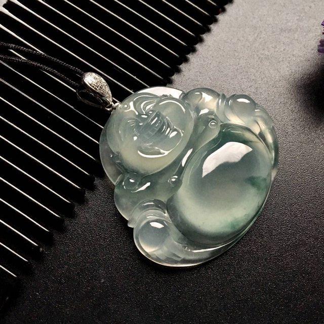 冰种飘花翡翠吊坠 品相好 尺寸: 37-33.5-8mm
