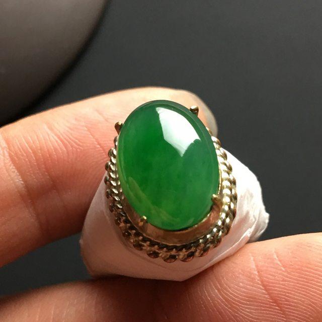 糯种满绿 缅甸天然翡翠戒指 15-11-4.2毫米图4