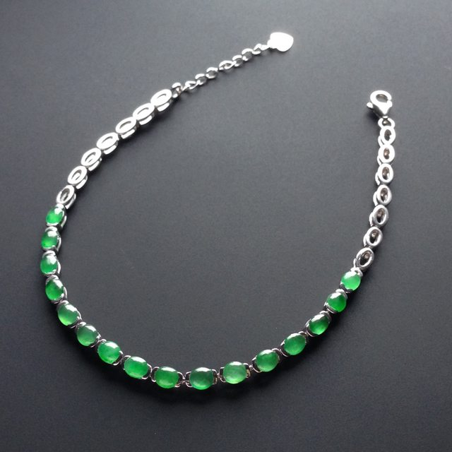 冰种阳绿 天然翡翠手链 单颗尺寸4-3-1.5毫米
