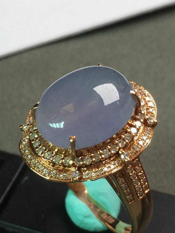 冰种紫罗兰 缅甸天然翡翠戒指 18k金镶嵌钻石