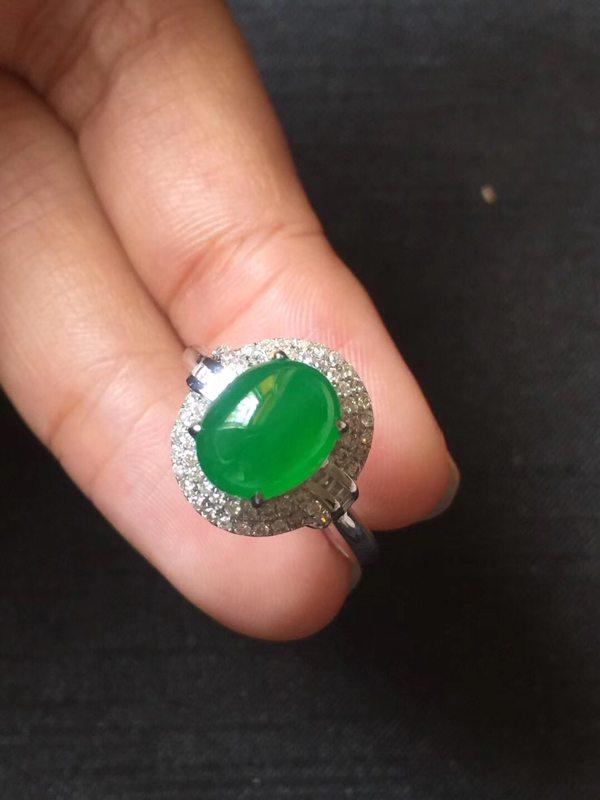 高冰种色标帝王绿 缅甸天然翡翠戒指