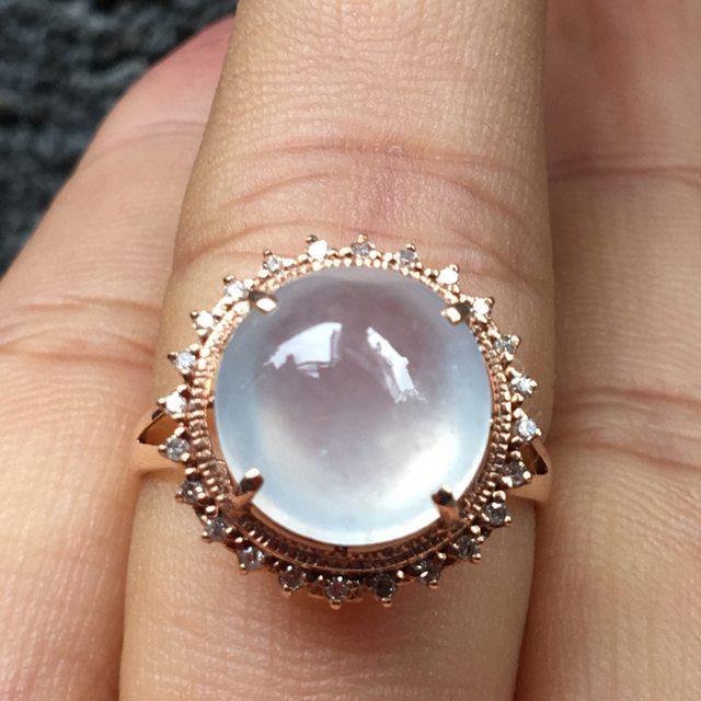 冰种晴水起光 缅甸天然翡翠戒指